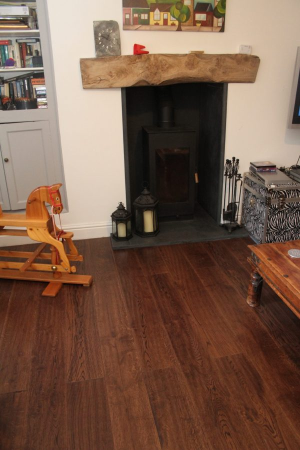vintage engineered oak flooring with rocking horse