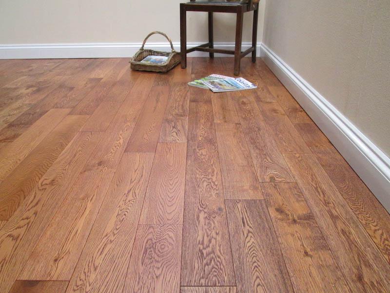 Dark Double Brushed Oiled Solid Oak Flooring