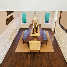 Oak Flooring for Your Dining Room - 18 x 120 Double Brushed & Dark Oiled Solid Oak Flooring
